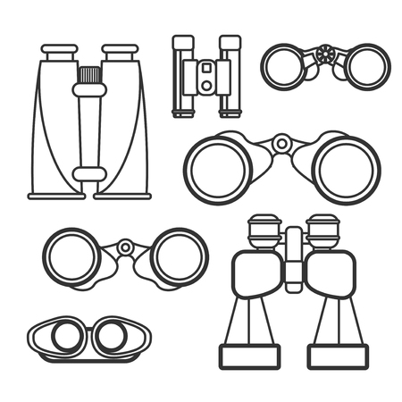 voyeur: Binocular vector set. Zoom tool equipment military illustration. Binocular glass. Navigation tool set.