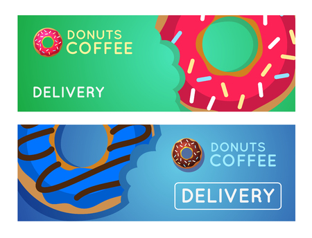 donuts: Sweet donut with coffee. Donut on table. Dinner on a donut at the coffee shop. Colored donuts with espresso. Donut coffee vector.