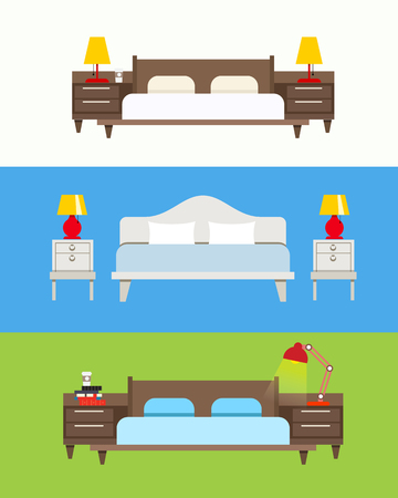 cushions: Bed vector set. Modern bedroom interior. Wooden furniture set. Bed with nightstand and lamp. Bed linen with cushions