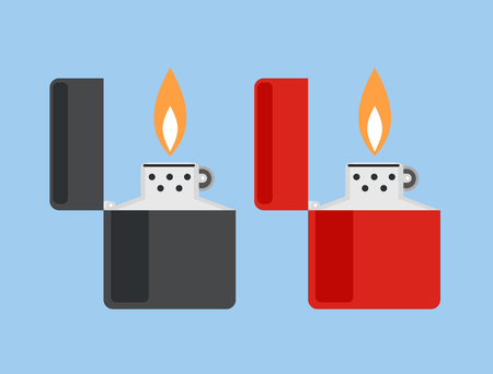 lighter: ?igarette lighter vector illustration. Cigarette lighter icon set. Cigarette lighter flame. Light a cigarette lighter vector illustration. Illustration