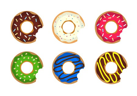 donut shop: Donut vector set. Colored donuts with cream and glaze. Sweet food cakes donut. Bakery donut, cake food. Six sugar Donut isolated. Donut in the coffee shop