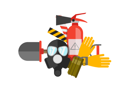 safety work: Safety equipment vector set. Fire protection and fire. A gas mask and a fire extinguisher. Set firefighter or rescuer. Rescue tools. Safety work Illustration