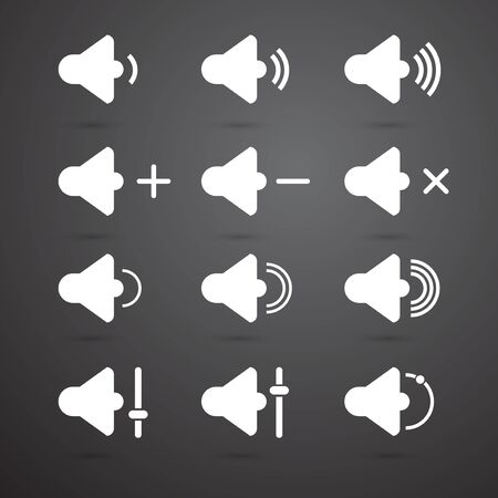 quieter: Vector Speaker icons for app set. Volume and sound, audio and loudspeaker, music, and voice. White silhouette. Illustration