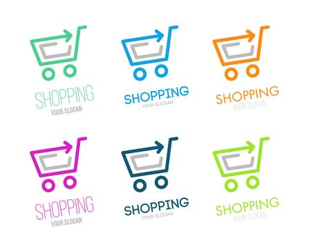 Shopping logo vector set. Online store vector logo. Hanger sign. Hanger pictogram with text.