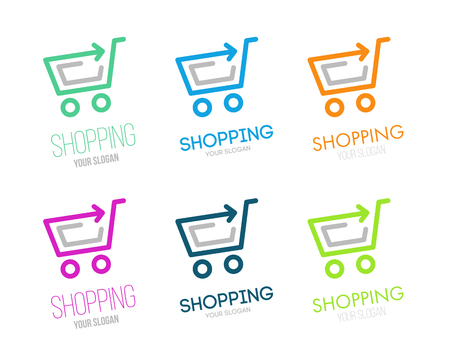 Shopping logo vector set. Online store vector logo. Hanger sign. Hanger pictogram with text.