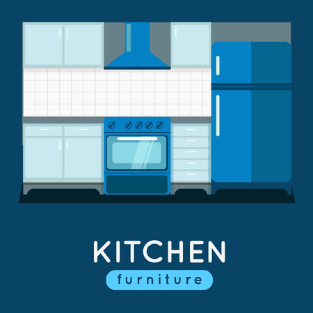 extractor: Kitchen furniture vector illustration. Modern kitchen interior. Oven and fridge with extractor fan. Kitchen table.