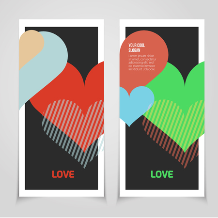 love you: Valentines Day invite card. Love heart banner. Love vector illustration. Hearts pattern with text. Valentines flyer design. 14 february banner. Illustration