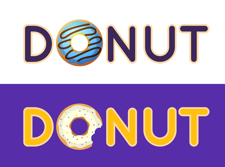 donut shop: Inscription donut vector. Name of the coffee or pastries. Donut in the coffee shop Illustration