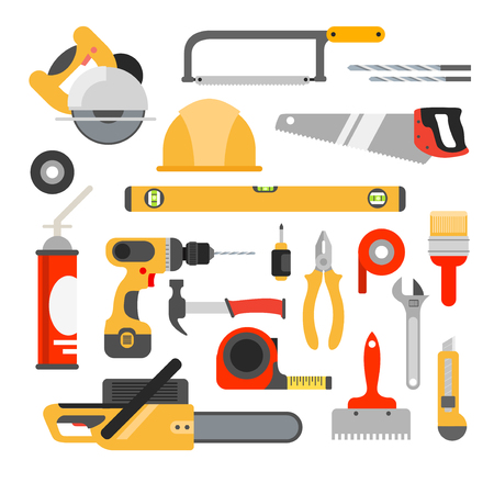 tool: Home repair tools vector icons. Working repair tools for repair and construction. Hand drill, saw, level, hammer, screwdriver and other construction tools. Home repair set isolated on white background. Illustration