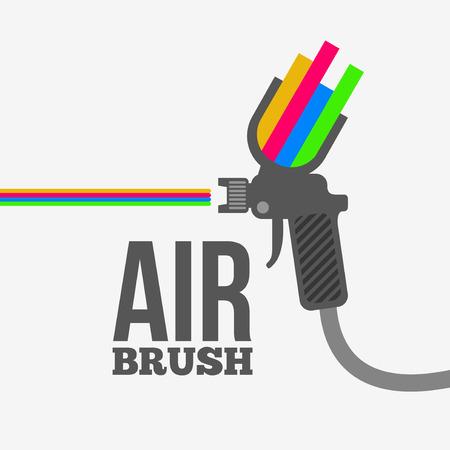 paint gun: Airbrush or spray gun vector.
