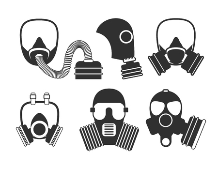 gas mask warning sign: Gas mask vector set. Gas mask for firefighters and military. Respirator mask. Gasmask with filter. Different kinds of gas mask illustration.