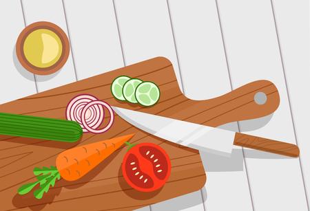 cutting board: Salad ingredients on cutting board vector set. Salad ingredients with knife vector illustration. Vegetables on table for salad. Vegetables for mixing salad. Salad ingredients top view. Illustration
