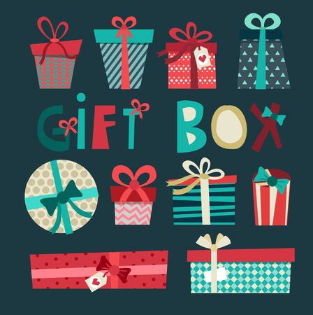 christmas gift box: Colorful gift boxes with bows and ribbons vector set. Gift boxes vector illustration. Set of vector Christmas gift box. Christmas box isolated. Christmas and birthday gift box set. Holiday gift box