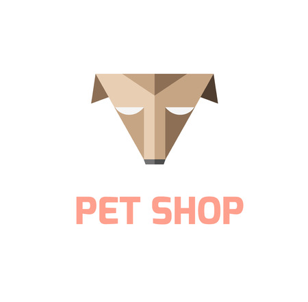 pet shop: Pet shop logo template. Triangle brown dog sign. Pet shop or store emblem. Illustration