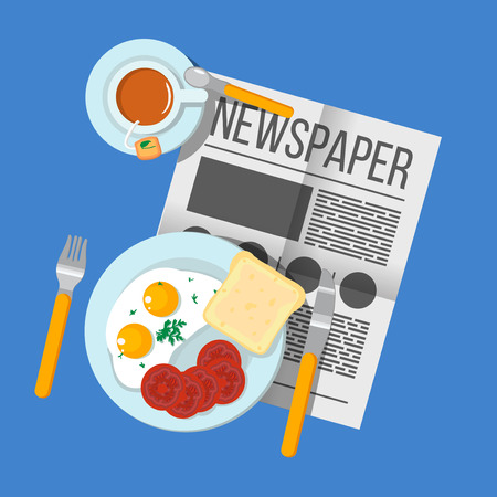 scrambled: English Breakfast scrambled eggs with bacon and tea top view. Newspaper on table with food illustration. Morning breakfast food and drink. Plates with Breakfast on the table. Family Breakfast in London. Illustration