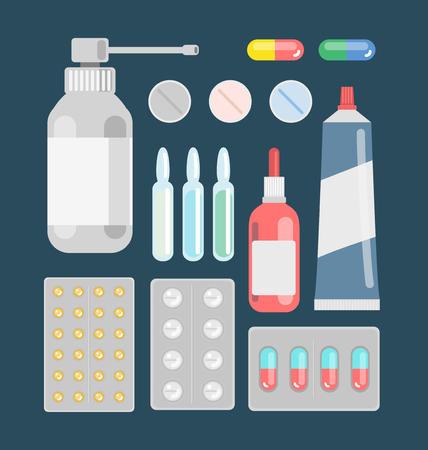 pharmaceutics: Pills against diseases vector set. Pills in your medicine chest. Pills bottles vector illustration. Aerosol cough. Pills, capsule, drugs against viruses.