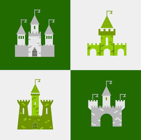 princess castle: Castle vector set. Castle tower vector logo. Castle turret with flag. History castle architecture illustration. Princess castle sign. Castle behind the wall.
