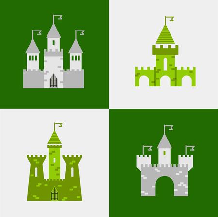 castle buildings: Castle vector set. Castle tower vector logo. Castle turret with flag. History castle architecture illustration. Princess castle sign. Castle behind the wall.