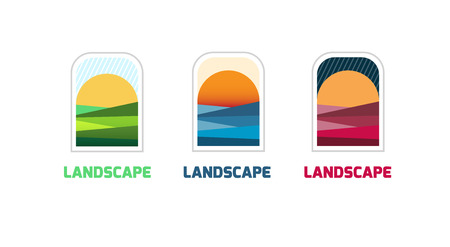 agro: Agro company logo teamplate. Vector landscape icon. Landscape abstract logo template. Landscape vector logo. Different times of the year. Illustration