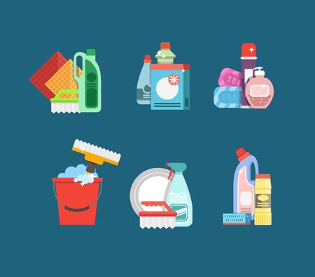 La limpieza del conjunto de vectores. Detergentes para la limpieza de su casa u hotel. Productos de limpieza. Servicio de limpieza del icono del vector. Foto de archivo - 52729102