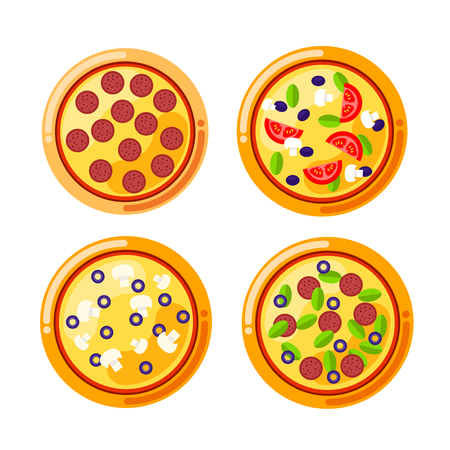 margherita: Pizza food circle. Vector set of pizza icons isolated on white background. Pizza vector collection with cheese, mushrooms, sausage, bacon, salami, black olives, tomatoes and other.