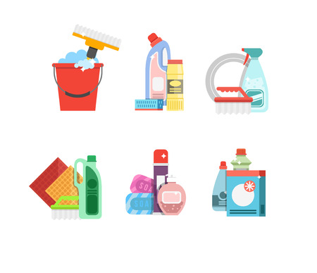 dusting: Cleaning tools vector set. Detergents for cleaning home or hotel. Cleaning products. Clean service vector icon.