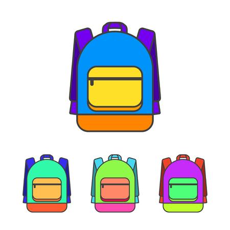 schoolbag: School bag vector illustration. Colorful school bag vector icon. School bag for student. Trend lines design schoolbag. School bag for books.