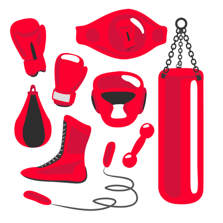 boxing sport: Boxing vector design elements. Fighting and boxing equipment. Boxing gloves vector illustration. Boxing gym icons. punching bag