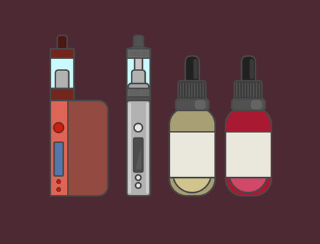 e cig: Vape device vector set. Vaping juice for vape. Vape trend new culture. Vape smoking. Vapor vaping. Vape vector sign.
