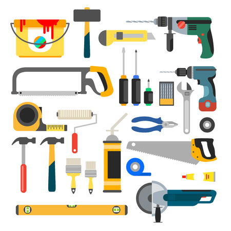 auger: Working tools vector set. Tools for repair and construction. Hand drill, saw, level, hammer, screwdriver and other construction tools. Home repair flat vector icons.
