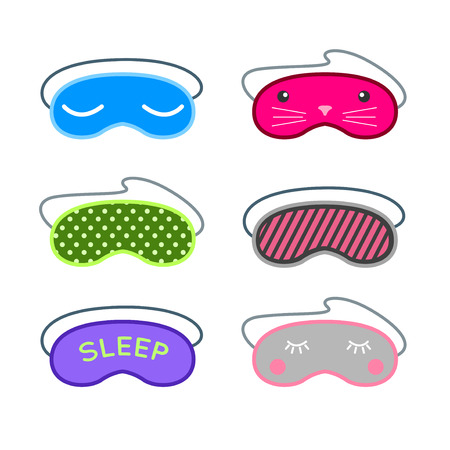 sleep mask: Sleep mask vector set. Night sleeping mask vector icon. Sleep mask for travel. Relax sleep mask. Mask for sleeping without stress.
