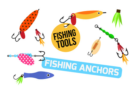 pescando: estableci� la pesca con se�uelos de vectores. herramientas de pesca ilustraci�n. estableci� la pesca de gancho del vector. s�mbolos de pesca. Pesca del icono del vector.