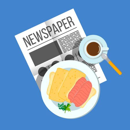 breakfast sandwich: Breakfast sandwich with coffee top view. Plates of Breakfast on the table. Family Breakfast in different cultures. Newspaper on table with food illustration. Morning breakfast food and drink. Illustration