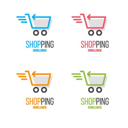 compras conjunto vector de la insignia. logotipo de la tienda en línea del vector. signo percha. pictograma percha con texto. Logos