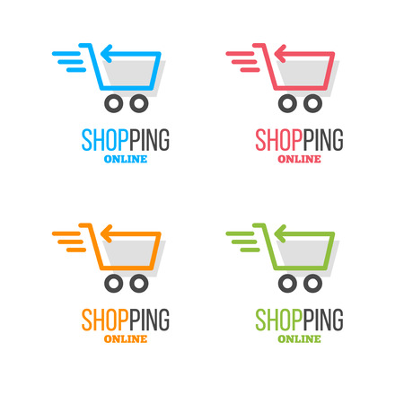 online store: Shopping logo vector set. Online store vector logo. Hanger sign. Hanger pictogram with text.