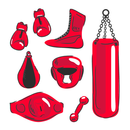 punching: Boxing vector design elements. Fighting and boxing equipment. Boxing gloves vector illustration. Boxing gym icons. punching bag