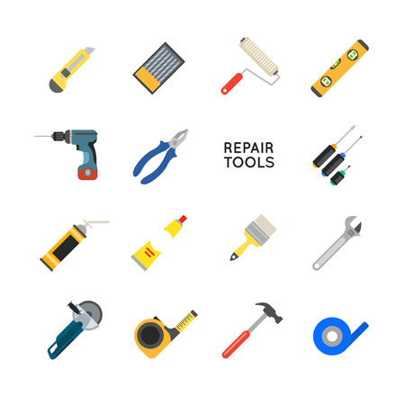 turn screw: Construction equipment vector set. Working tools for repair and construction. Hand drill, saw, level, hammer, screwdriver and other construction tools. Home repair set isolated on white background. Illustration