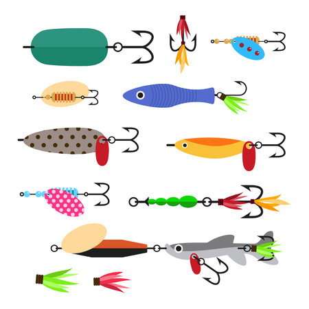Fishing lure vector set. Fishing tools illustration. Fishing hook vector set. Fishing symbols. Fishing vector icon.