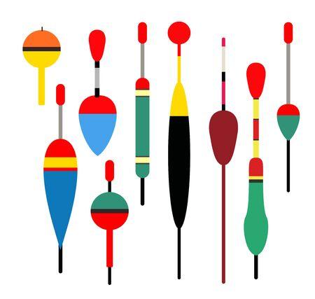 fishing bobber: Fishing bobber vector set. Fishing tools illustration. Fishing bobber vector set. Fishing symbols. Fishing vector icon. Colour bobber.