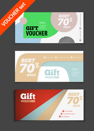 restaurant bill: Gift voucher vector set. Sale voucher vector illustration. Store voucher with text. Shop voucher promotion. Restaurant voucher vector background. Voucher for print. Discount voucher design.