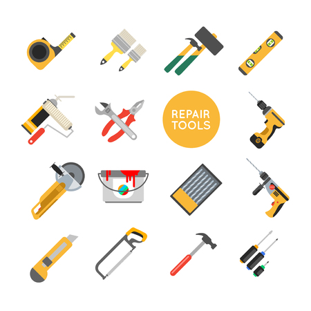 auger: Home repair tools vector icons. Working repair tools for repair and construction. Hand drill, saw, level, hammer, screwdriver and other construction tools. Home repair set isolated on white background. Illustration