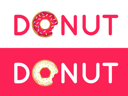 donuts: Inscription donut vector. Name of the coffee or pastries. Donut in the coffee shop Illustration