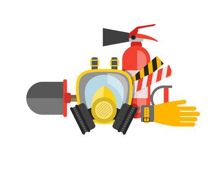 estableció el equipo de seguridad del vector. Protección contra el fuego y el fuego. Una máscara de gas y un extintor. bombero conjunto o rescatador. herramientas de rescate. Trabajo de seguridad Ilustración de vector