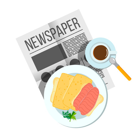 english breakfast: Breakfast sandwich with coffee top view. Plates of Breakfast on the table. Family Breakfast in different cultures. Newspaper on table with food illustration. Morning breakfast food and drink. Illustration