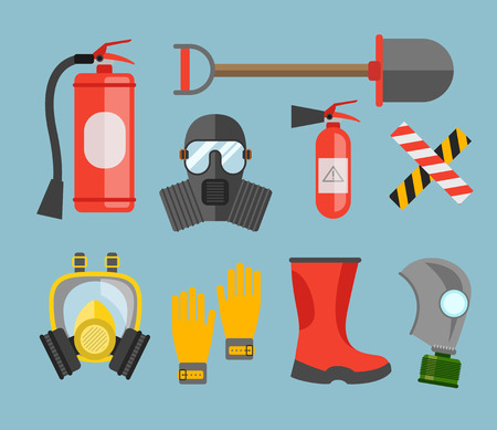 gas mask danger sign: Safety equipment vector set. Fire protection and fire. A gas mask and a fire extinguisher. Set firefighter or rescuer. Rescue tools. Safety work Illustration
