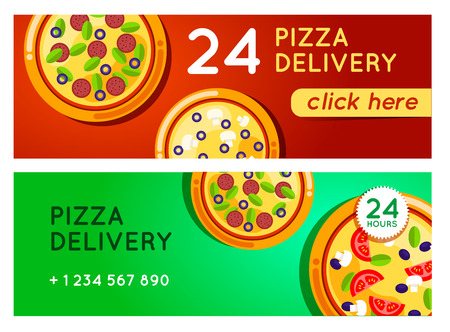 pizza box: Pizza delivery vector background. Pizza 24 hours. Pizza with pizza box. Hot fast food pizza delivery. pizza banner for restaurant or cafe. 24 hours cafe delivery. Pizza to go.