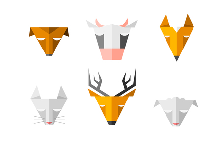 pet shop: Heads of different animals. Triangle signs for computer software or blog. Zoo emblem or pet shop. Illustration