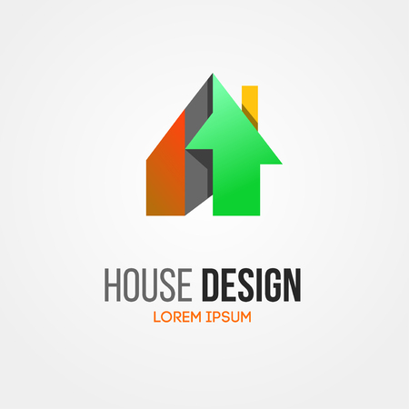Abstract house home vector logo. Building company logo. Private cottage logo. Home house roof and mortgage, banking, loan house, royalty. Apartments logo, mortgage. Real estate agent. Development logo.