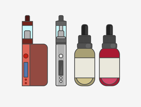 e cigarette: Vape device vector set. Vaping juice for vape. Vape trend new culture. Vape smoking. Vapor vaping. Vape vector sign.