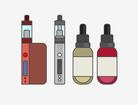 e liquid: Vape device vector set. Vaping juice for vape. Vape trend new culture. Vape smoking. Vapor vaping. Vape vector sign.